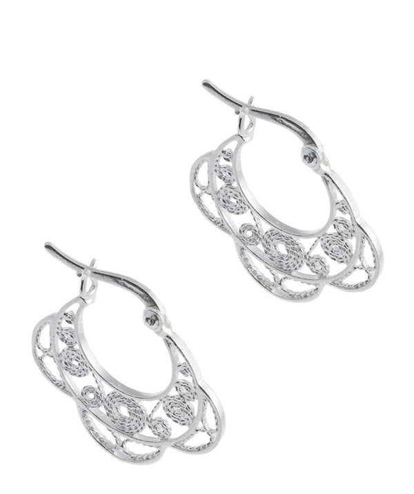 'Rue' Sterling Silver Half Flower Earrings Pure Luxuries London