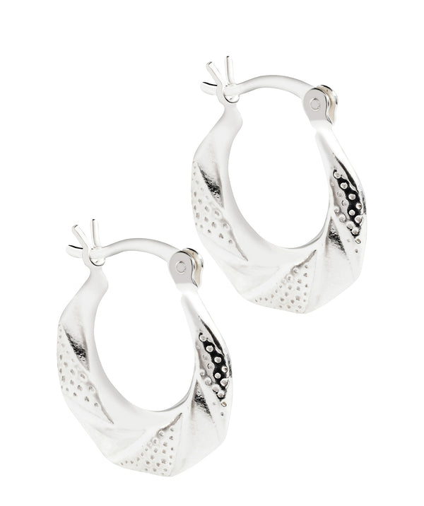 'Lacq' Sterling Silver Striped Creole Earrings image 1