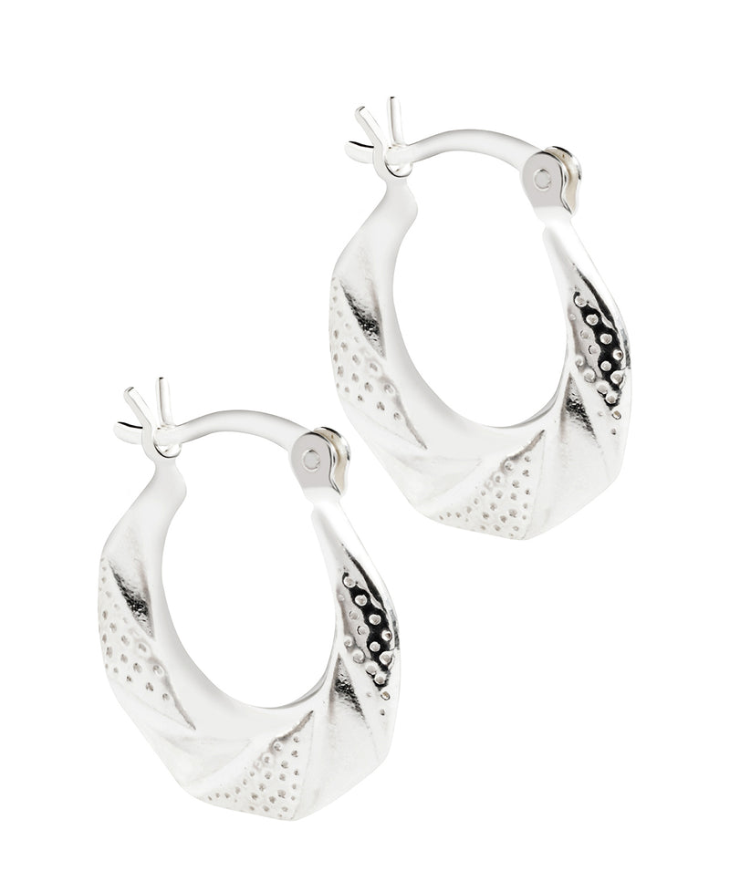 'Lacq' Sterling Silver Striped Creole Earrings Pure Luxuries London