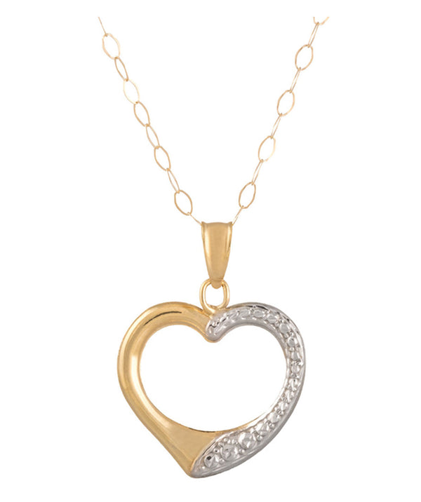 'Safiya' 9-Carat Yellow & White Gold Heart Necklace