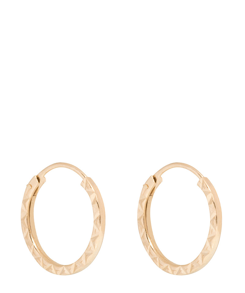 'Mahtab' 9-Carat Yellow Gold Diamond Cut Hoop Earrings Pure Luxuries London