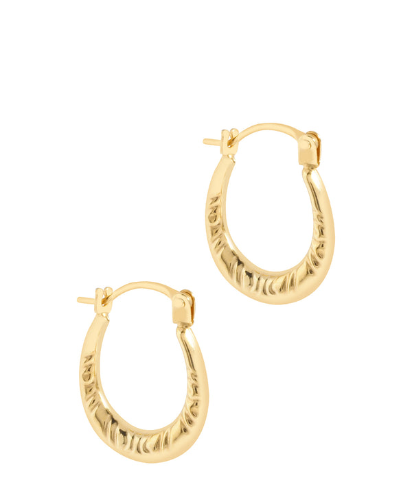 'Adisa' 9ct Gold Patterned Creole Earrings image 1