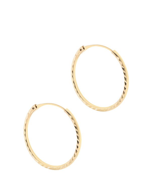 'Annecy' 9ct Yellow Gold Diamond Cut Hoop Earrings image 1