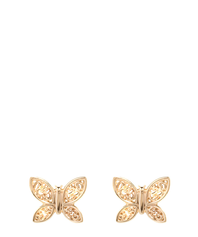 'Parisa' 9-Carat Yellow Gold Butterfly Stud Earrings image 1