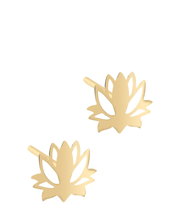 'Alusia' 9ct Yellow Gold Lotus Flower Stud Earrings image 1