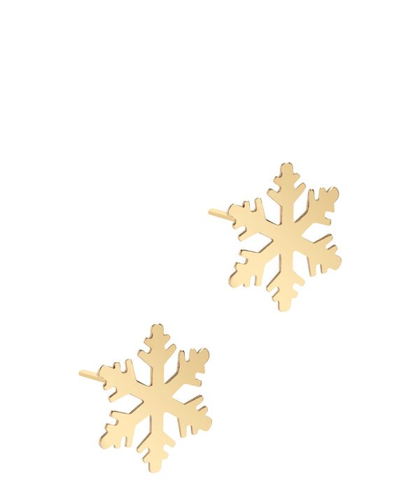 'Benicia' 9ct Gold Snowflake Stud Earrings Pure Luxuries London