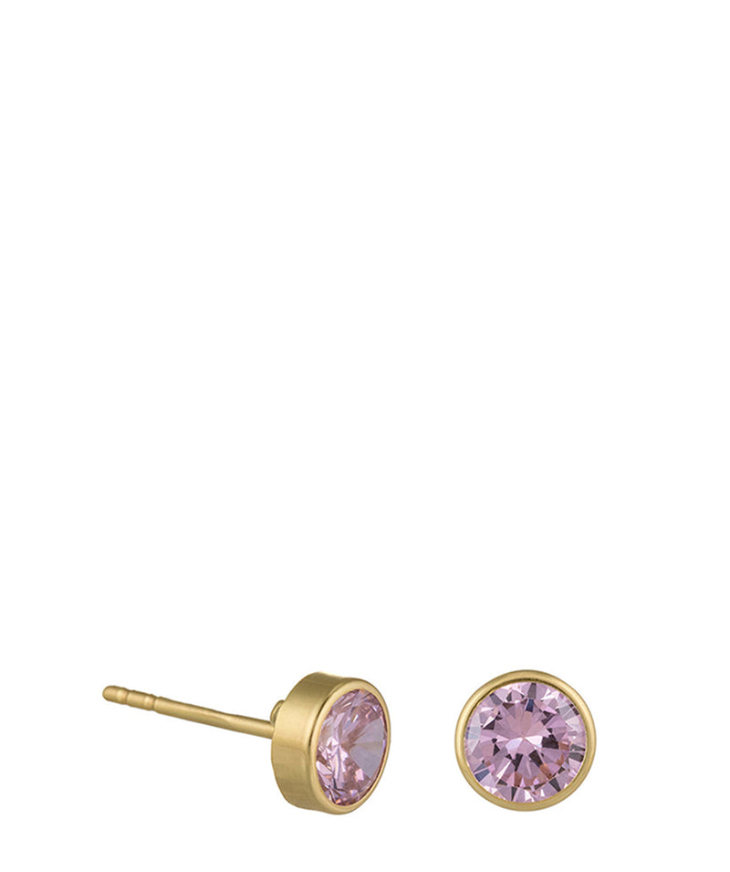 'Christiane' 9-Carat Yellow Gold & Pink Cubic Zirconia Earrings image 1