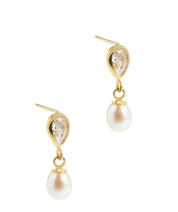 'Ellie' Yellow Gold and Freshwater Pearl Teardrop Earrings image 1