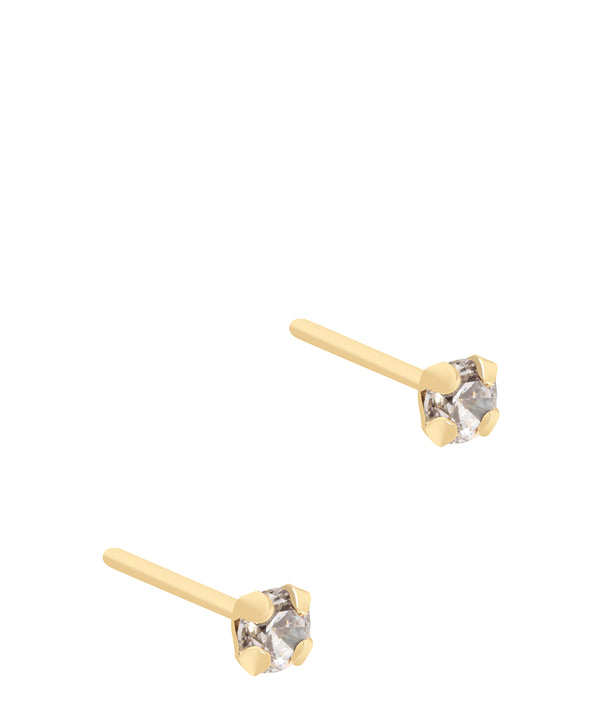 'Farai' 9ct Yellow Gold & Round Cubic Zirconia Stud Earrings image 1