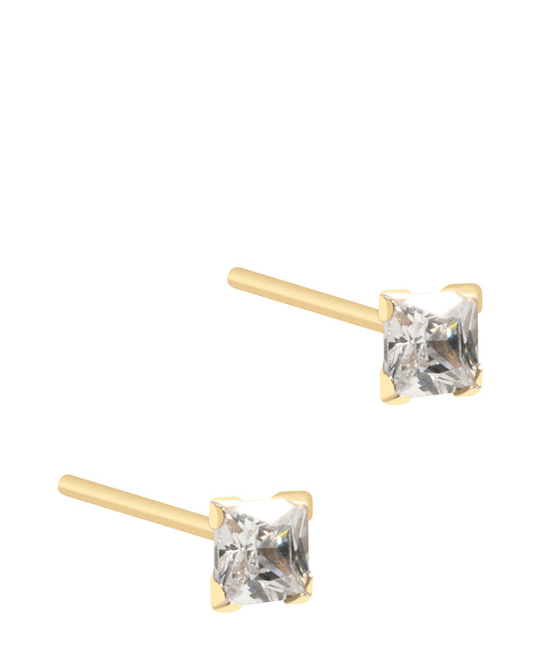 'Baya' 9ct Gold Square Cubic Zirconia Stud Earrings image 1