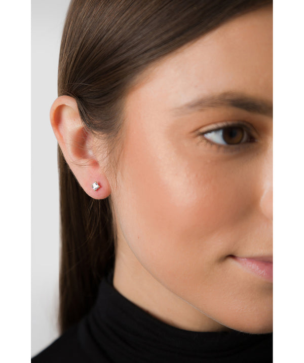 'Baya' 9ct Gold Square Cubic Zirconia Stud Earrings image 2