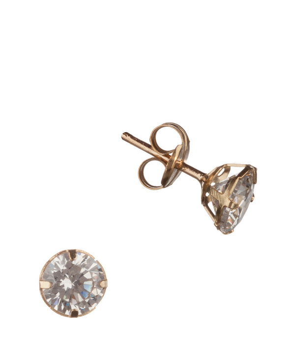 'Abuela' 9-carat yellow gold & 5mm cubic zirconia earrings	 image 1