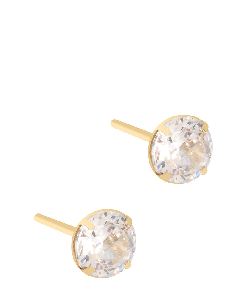 'Trini' 9ct Gold Round Crystal Stud Earrings image 1