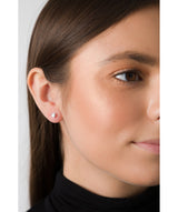 'Rubi' 9ct Gold Cubic Zirconia Flower Stud Earrings image 2