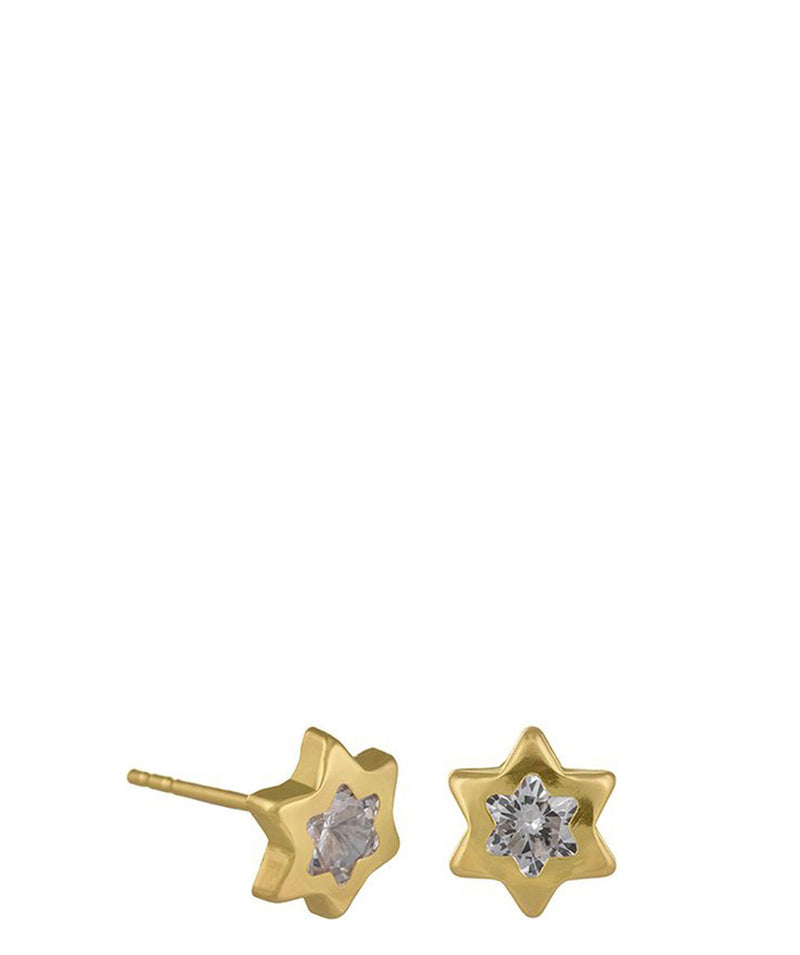 'Anippe' 9-Carat Yellow Gold & Cubic Zirconia Star Earrings