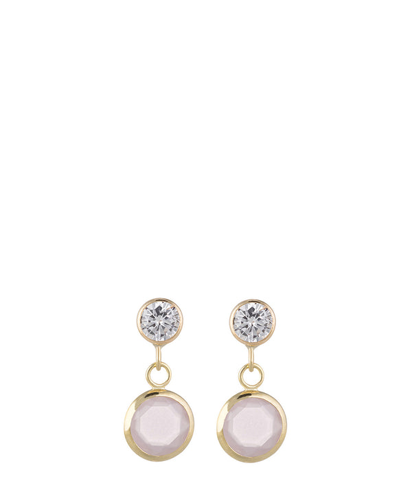 'Rehema' 9-Carat Yellow Gold, Cubic Zirconia & Pink Crystal Drop Earrings