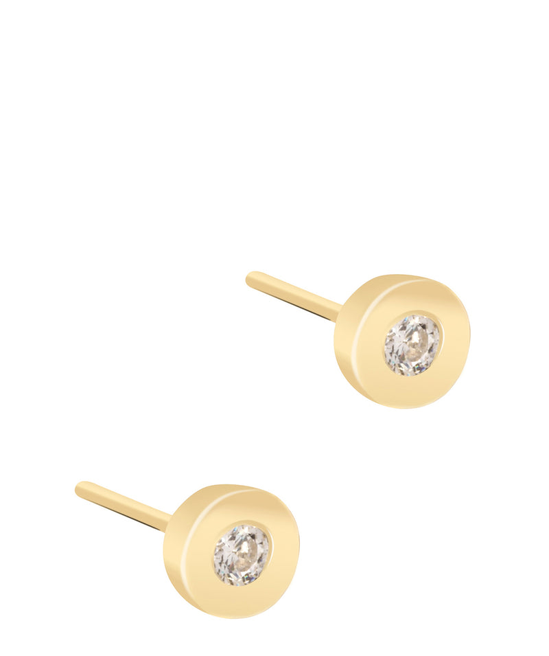 'Marcina' 9ct Yellow Gold & Cubic Zirconia Circular Stud Earrings Pure Luxuries London