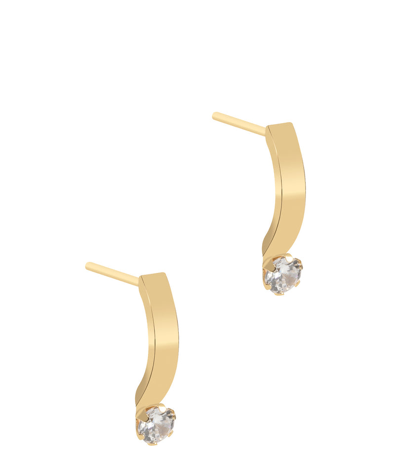 'Leonara' 9ct Yellow Gold and Cubic Zirconia Curved Drop Earrings image 1