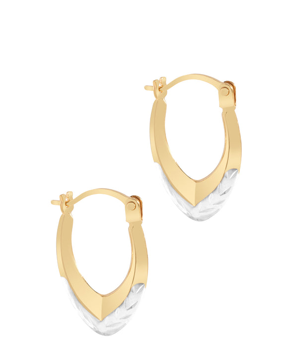 'Dominque' 9ct Yellow and White Gold Diamond Cut Creole Earrings image 1