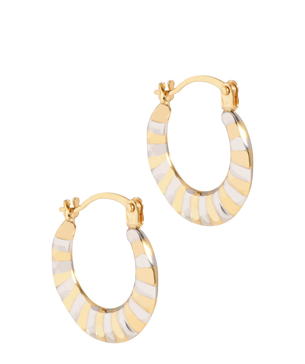 'Arles' 9ct Yellow and White Gold Striped Creole Earrings Pure Luxuries London
