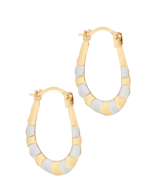 'Pascale' 9ct Yellow and White Gold Striped Creole Earrings image 1