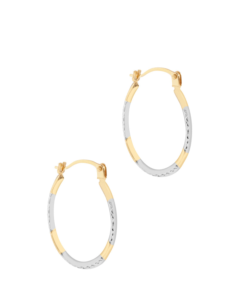 'Avianon' 9ct Yellow & White Gold Diamond Cut Oval Hoop Earrings image 1