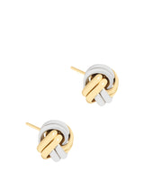 'Amelia' 9ct Yellow and White Gold Knot Stud Earrings image 1
