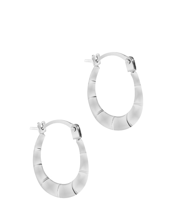 'Jacquelyn' 9ct White Gold Grooved Creole Hoop Earrings Pure Luxuries London