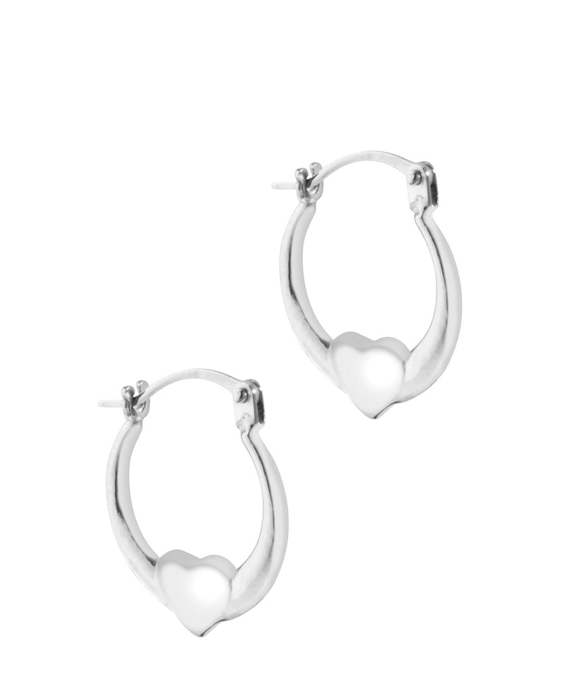 'Lisanne' 9ct White Gold Heart Creole Earrings image 1