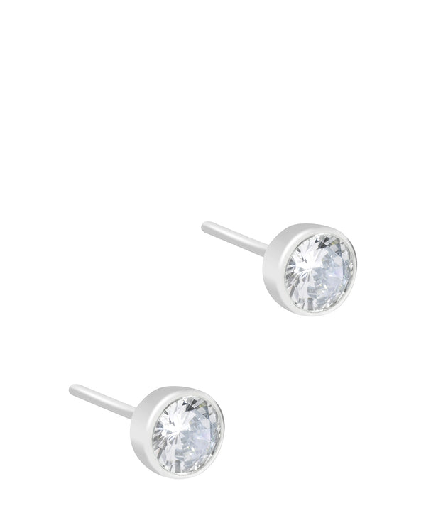 'Zamora' 9ct White Gold & Cubic Zirconia Stud Earrings image 1