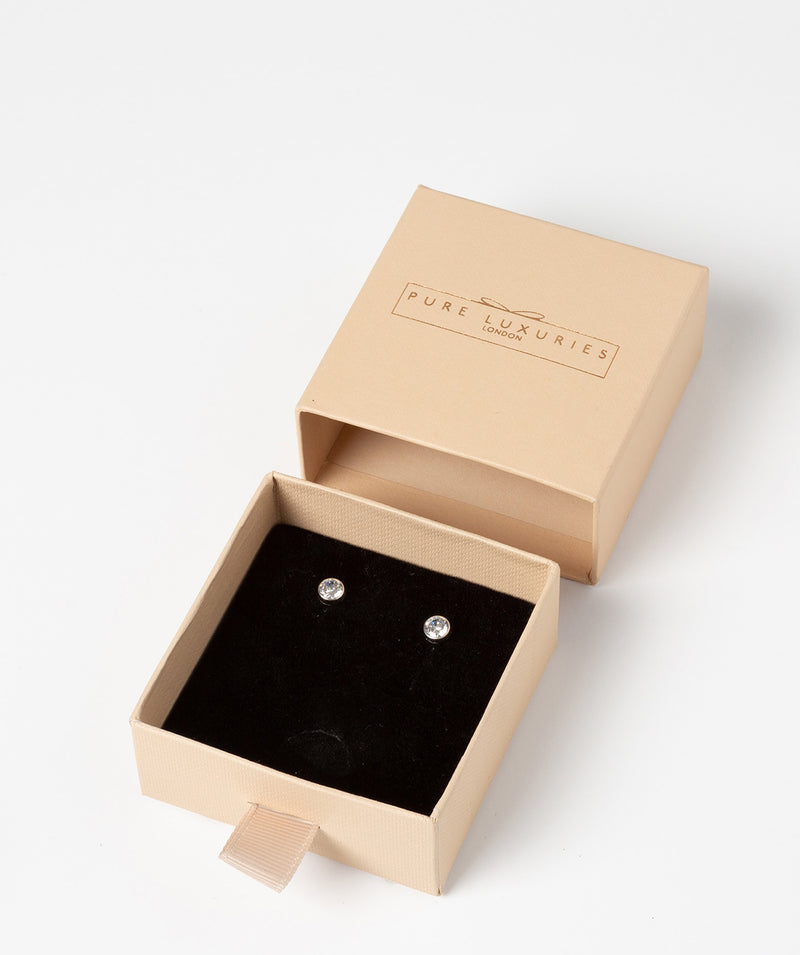 'Zamora' 9ct White Gold & Cubic Zirconia Stud Earrings image 3
