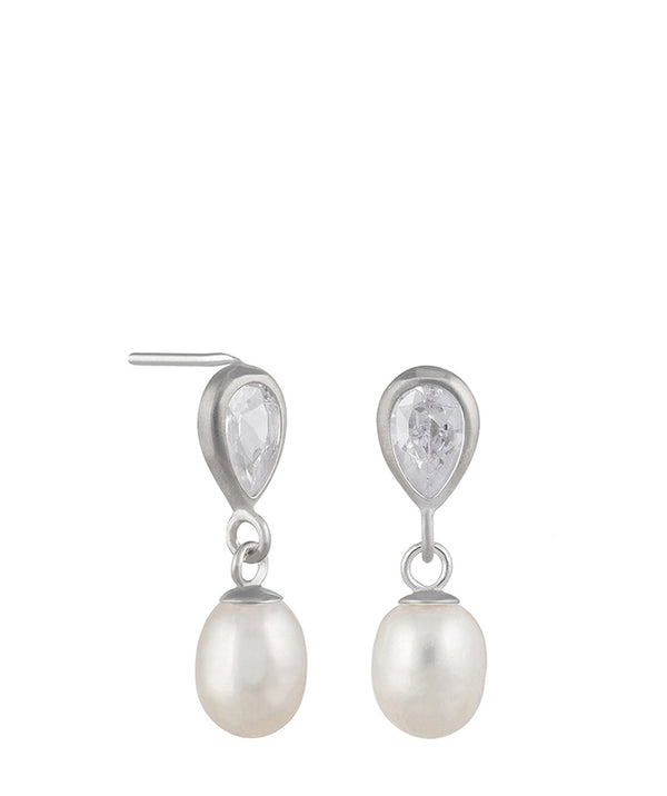 'Raziya' 9-Carat White Gold, Cubic Zirconia & Pearl Drop Earrings