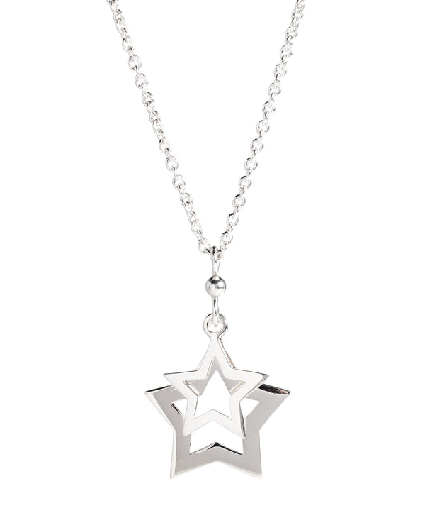 'Rodez' Sterling Silver Double Cutout Star Necklace