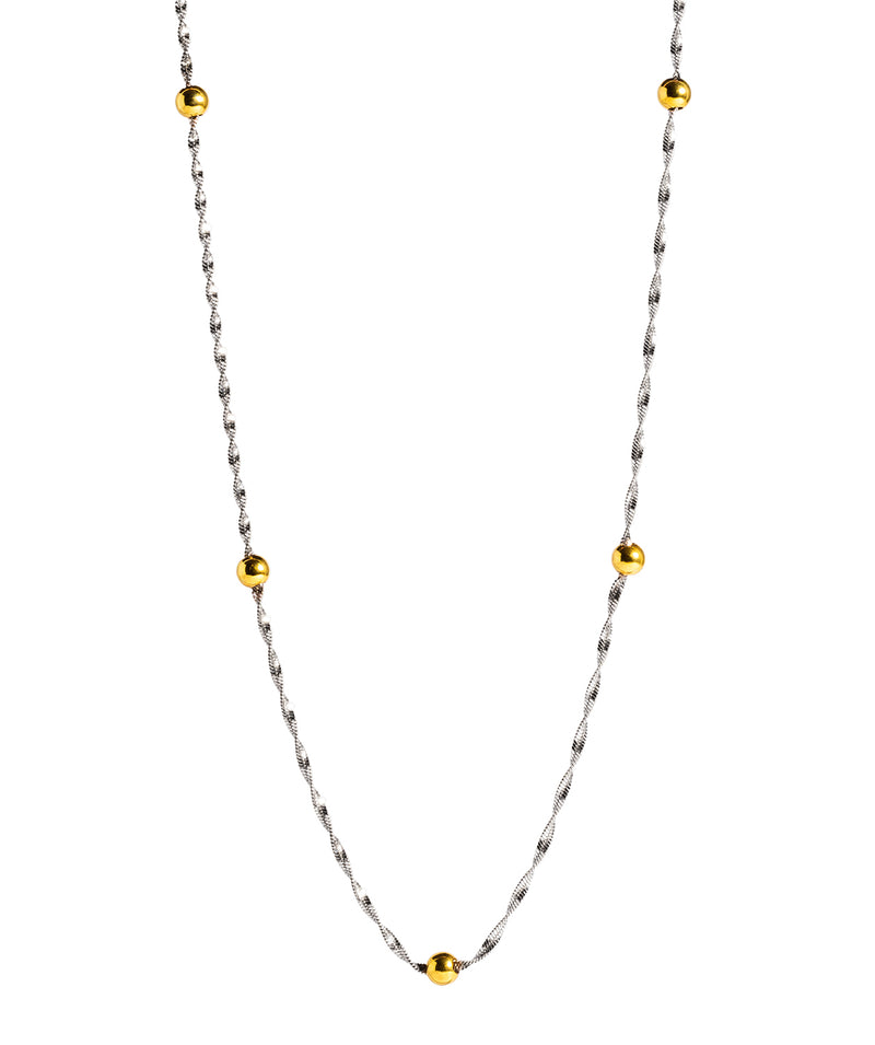 'Euterpe' Sterling Silver with Yellow Gold Plated Balls with Twist Curb Chain Necklace