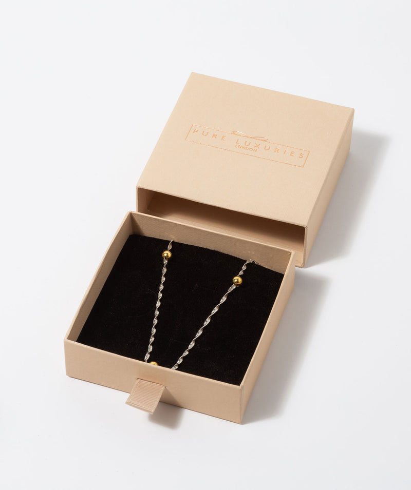 Gift Packaged 'Euterpe' Sterling Silver with Yellow Gold Plated Balls with Twist Curb Chain Necklace
