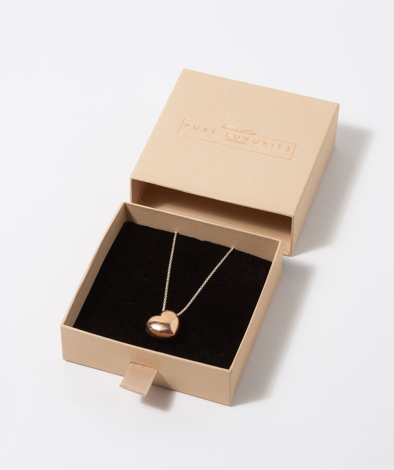 'Merope' Rose Gold Plated Sterling Silver Hollow Heart Necklace