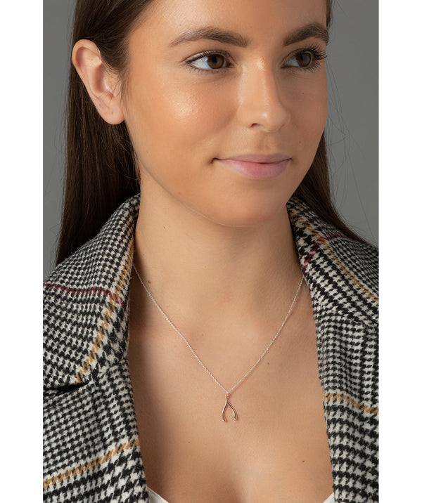 'Josefina' Rose Gold Plated Sterling Silver Wishbone Necklace  image 2