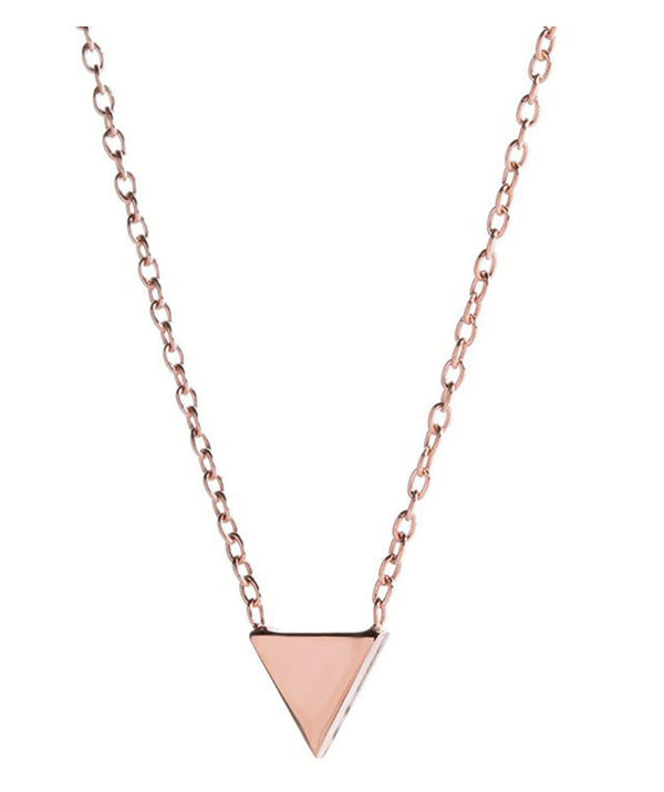 'Alita' Rose Gold Plated Sterling Silver Triangle Necklace