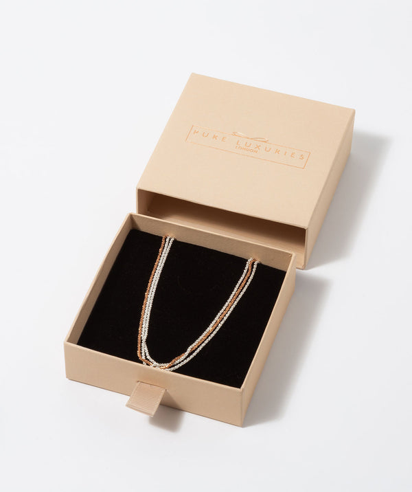 'Anthea' Three Strand Rose Gold Plated and Sterling Silver Chain Necklace