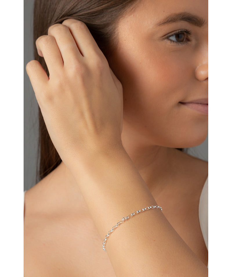 'Salud' Sterling Silver Oval Link Bracelet Pure Luxuries London