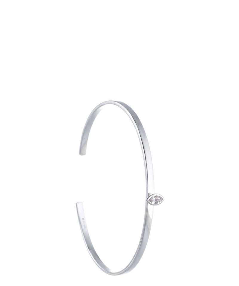 'Sauran' Sterling Silver & Cubic Zirconia Torc Bangle