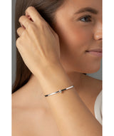 'Sauran' Sterling Silver & Cubic Zirconia Torc Bangle image 2