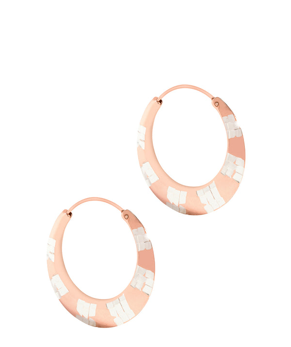 'Gaia' Sterling Silver Rose Gold Plated Art Deco Hoop Earrings image 1