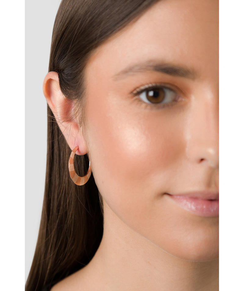 'Gaia' Sterling Silver Rose Gold Plated Art Deco Hoop Earrings image 2