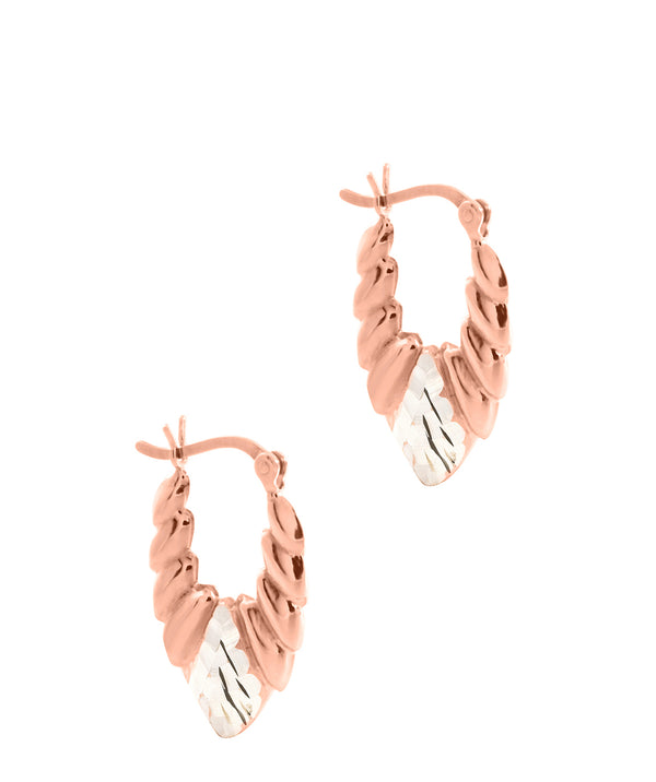 'Hebe' Rose Gold Plated Sterling Silver and Sterling Silver Creole Earrings  image 1