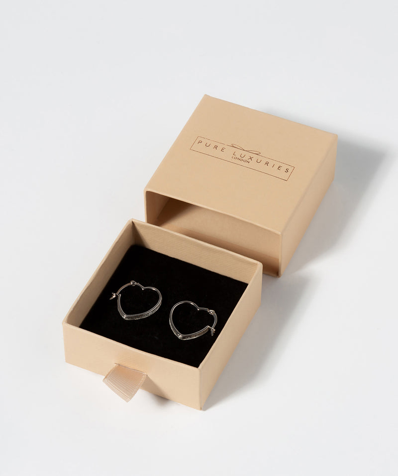 Gift Packaged 'Darla' Sterling Silver Stardust Heart Creole Earrings