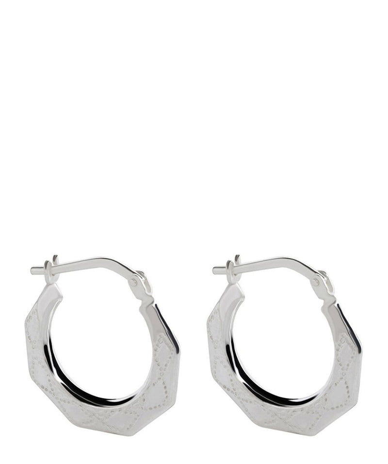 'Braelyn' Sterling Silver Creole Earrings Pure Luxuries London