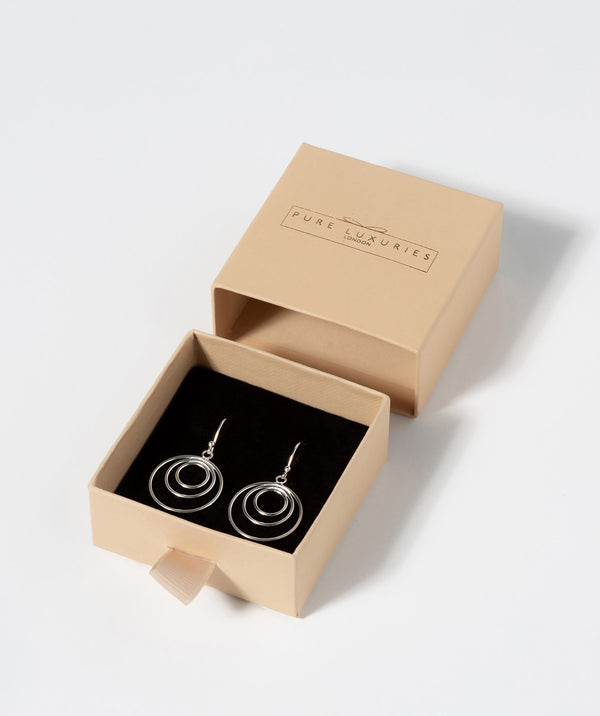 Gift Packaged 'Dionysus' Sterling Silver Triple Circle Drop Earrings