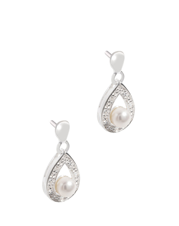 Gift Packaged 'Bia' Sterling Silver and Pearl Drop Earrings