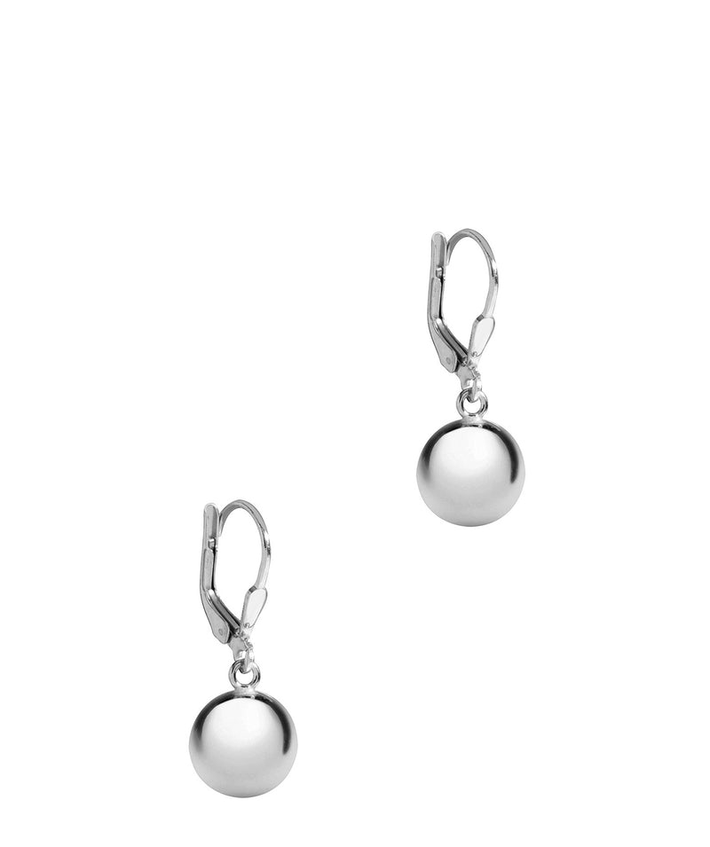 Gift Packaged 'Selene' Sterling Silver Round Polished Ball Drop Earrings